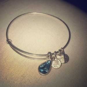 ALEX & ANI Aqua jewel silver charm bracelet